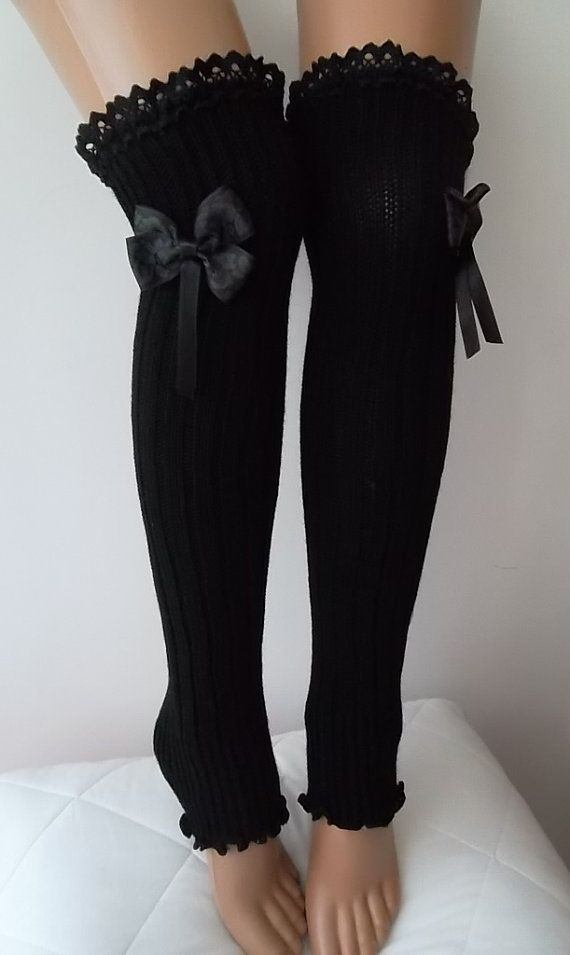 Charcoal Grey  Grey Ribbon Bow  Leg Warmers by CarnavalBoutique,