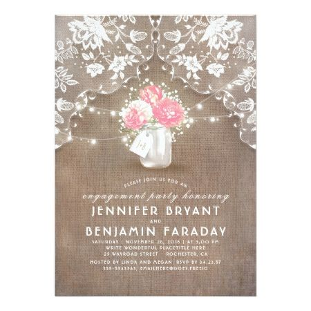 Peonies, Baby's Breath Mason Jar Engagement Party Card - click to get yours right now!