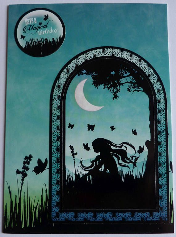 Birthday Fairy Card, Green Fairy Card, Birthday Wishes, Silhouette Card, Enchanted Card, Home Decor, OOAK Card, Irish Seller, Artistic Card