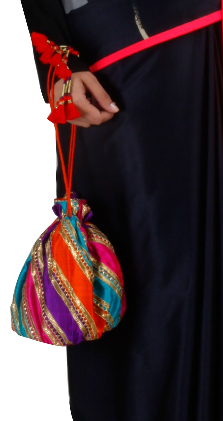 Striped Gota embroidery Potli by TISHA SAKSENA. Shop at https://www.perniaspopupshop.com/whats-new/tisha-saksena-12