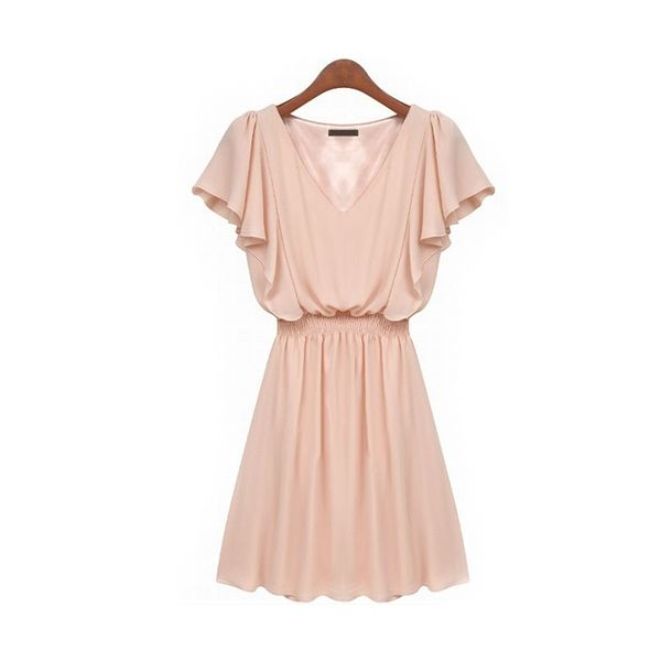 V Neck Lotus Short Sleeve Pleated Women Pink Dresses  http://www.jollychic.com/p/v-neck-lotus-short-sleeve-pleated-women-pink-dresses-g35212.html