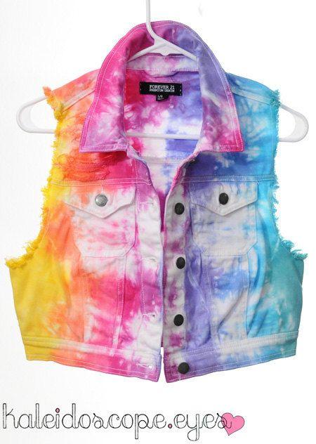 RAINBOW+Tie+Dye+Dyed+DISTRESSED+Cropped+by+ShopKaleidoscopeEyes