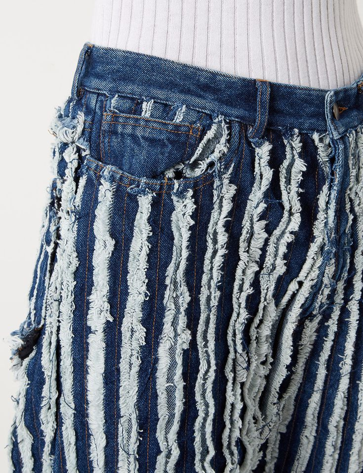 Black Denim Frayed Oversized Jeans | Y Project