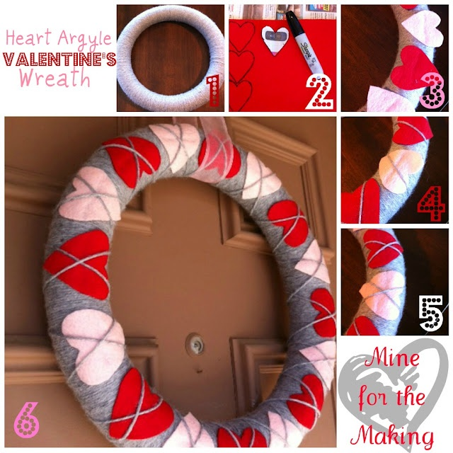 Heart Argyle Wreath for Valentine's Day  Wrap wreath form with grey yarn, add 16 felt hearts (8 of each color) wrap one strand of yarn on diagonal over the hearts one direction, then the other direction.