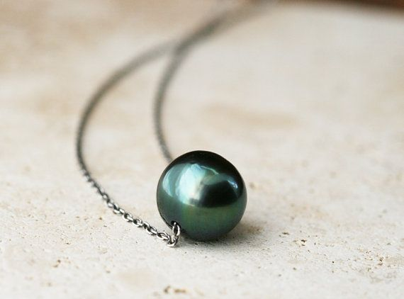 I love Tahitian black pearls!  necklace with sterling by MaryAnneKarren, etsy