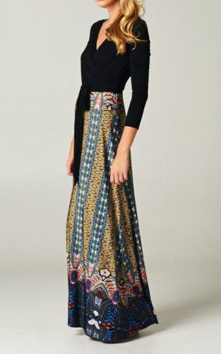 Long Sleeve Maxi Dress Bohemian Tribal Print Blue Wrap Dress Boutique Fashion | eBay