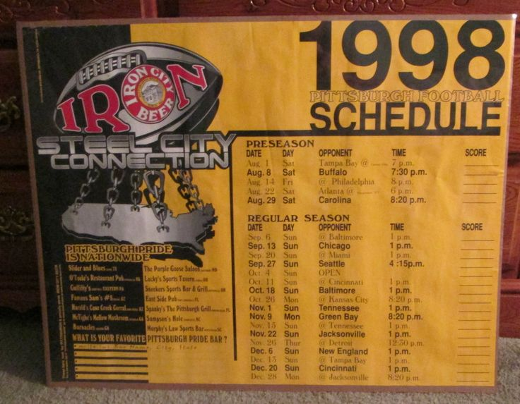 RARE 1998 PITTSBURGH STEELERS SCHEDULE POSTER IRON CITY BEER