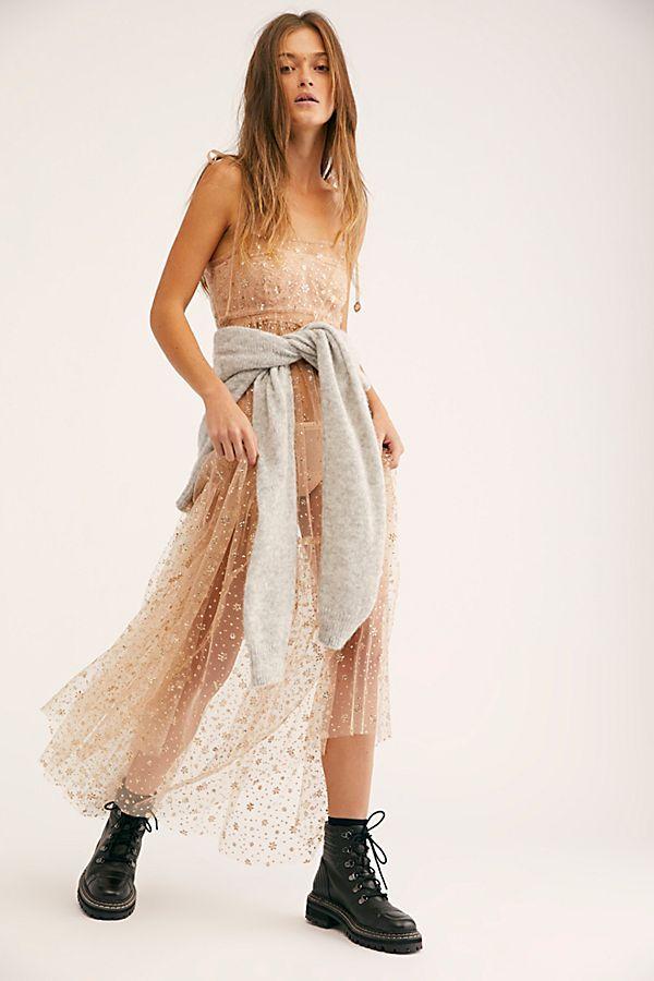 Fp One Estella Glitter Maxi Slip Dress Maxi Slip Dress Sheer Slip Dress Sheer Maxi Dress