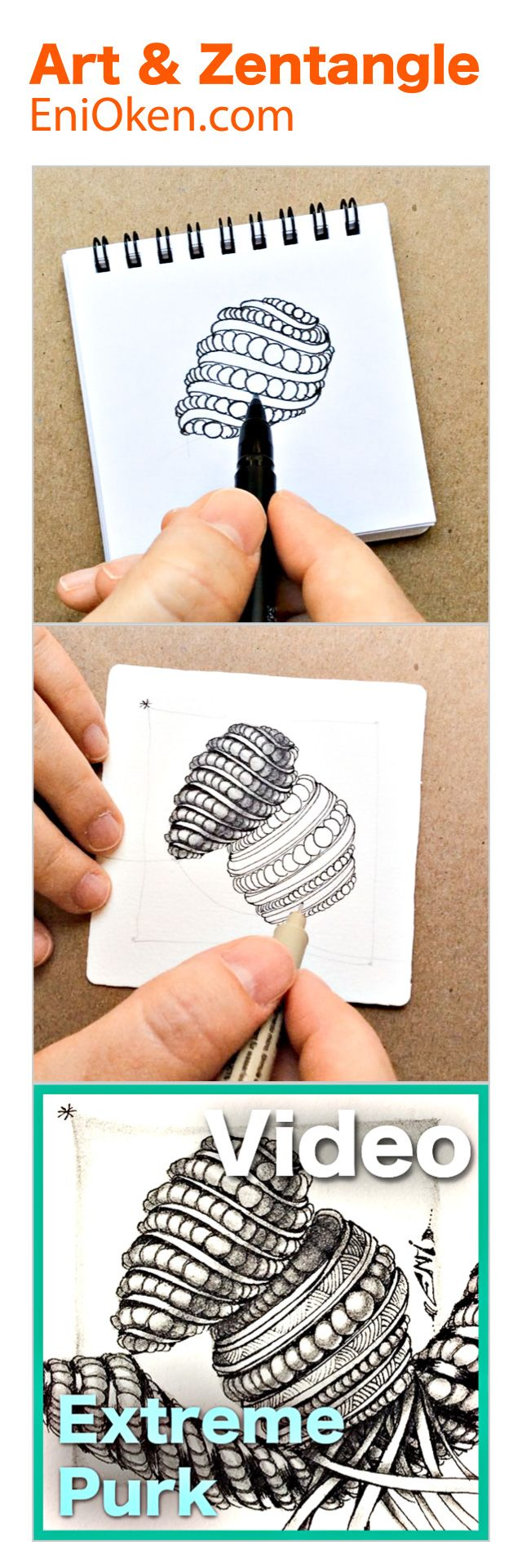 3D Shading in Zentangle still tricky? Purk extreme in 3D video. • enioken.com