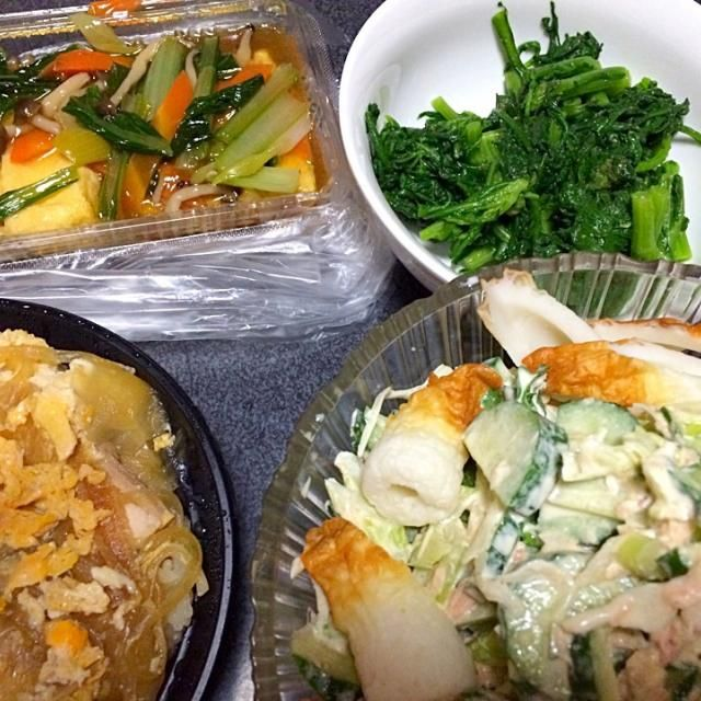 #夕飯 - 9件のもぐもぐ - 揚げ出し豆腐、親子丼、春菊のおひたし、ツナ竹輪きゅうりレタスサラダ(ツナと竹輪である意味シーフードサラダ) by ms903