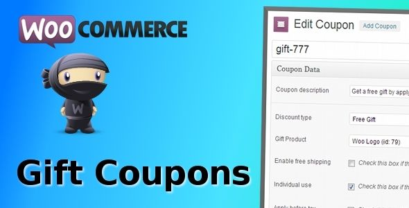 WooCommerce Gift Coupons   http://codecanyon.net/item/woocommerce-gift-coupons/6207561?ref=damiamio      WooCommerce Gift Coupons Create and manage gift coupons the same way you would manage standard discount coupons.  WooCommerce Gift Coupons allows for creating gift coupons to reward customers with a free gift after applying the coupon code.   There is little to configure since the extension builds on the powerful WooCommerce coupons functionality. Simply install the extension and create…