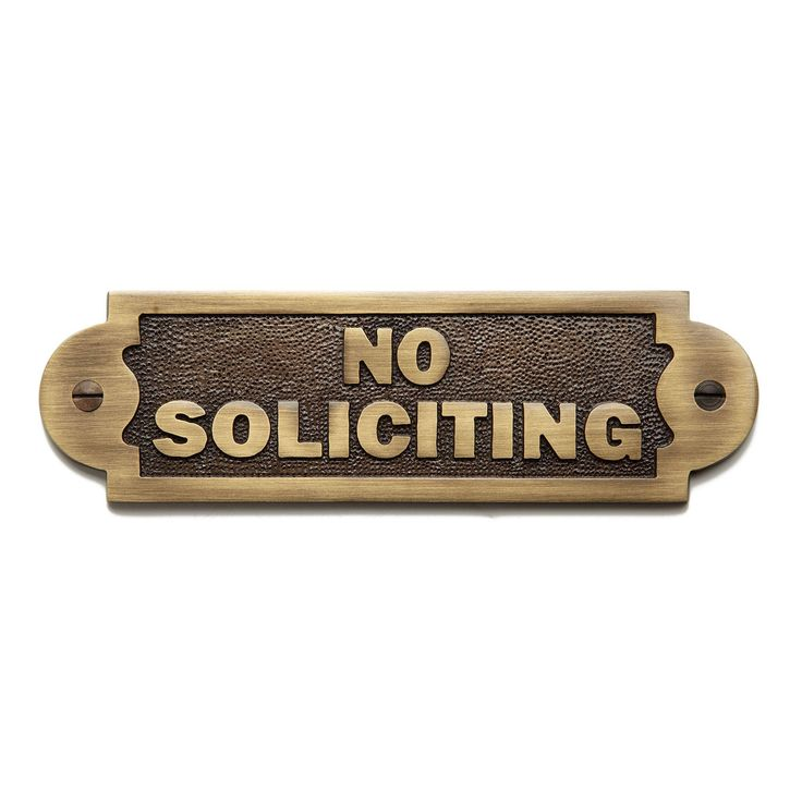 """Solid Brass """"No Soliciting"""" Sign - Antique Brass"""