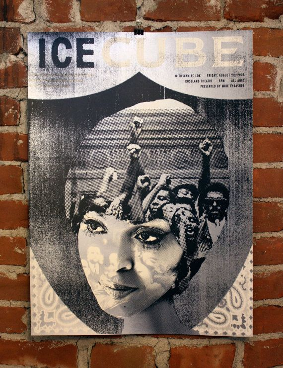 Ice Cube Hand-Printed Gigposter by nateduval on Etsy (Art & Collectibles, Prints, Music & Movie Posters, rap, hip hop, california, silver, black, ice cube, music)