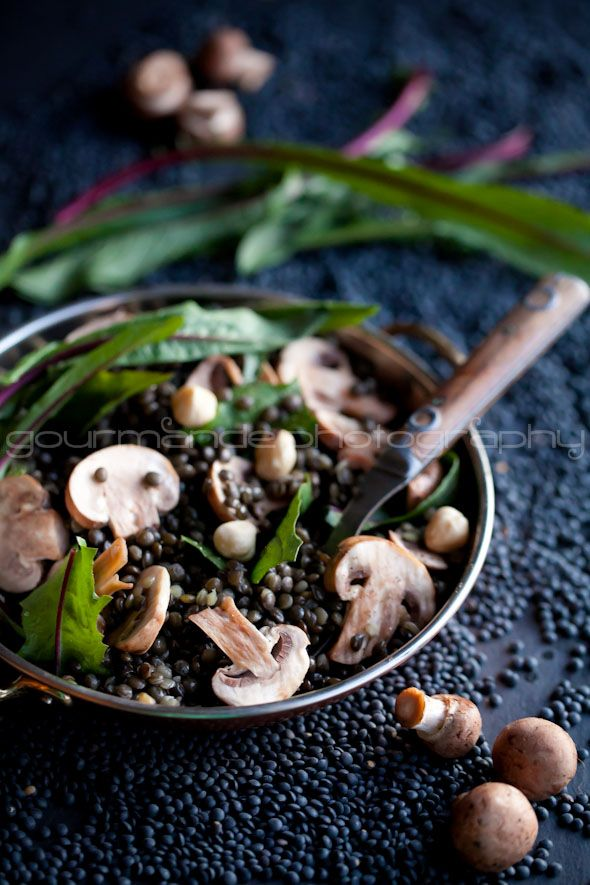 Black Beluga Lentil Salad with Mushrooms and Mustard Vinaigrette | Hearty Feel Good Food from @ Sylvie | Gourmande in the Kitchen