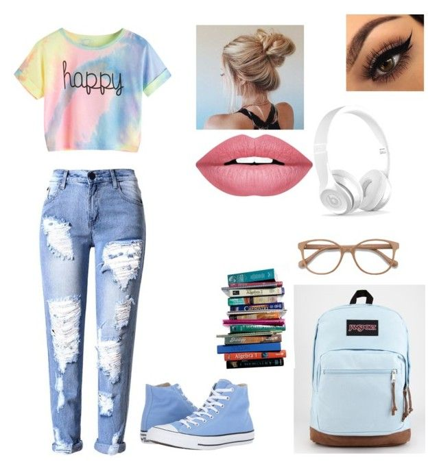 """""""Untitled #2"""" by izzyvb on Polyvore featuring Converse, JanSport, EyeBuyDirect.com, 7 For All Mankind and Forever 21"""