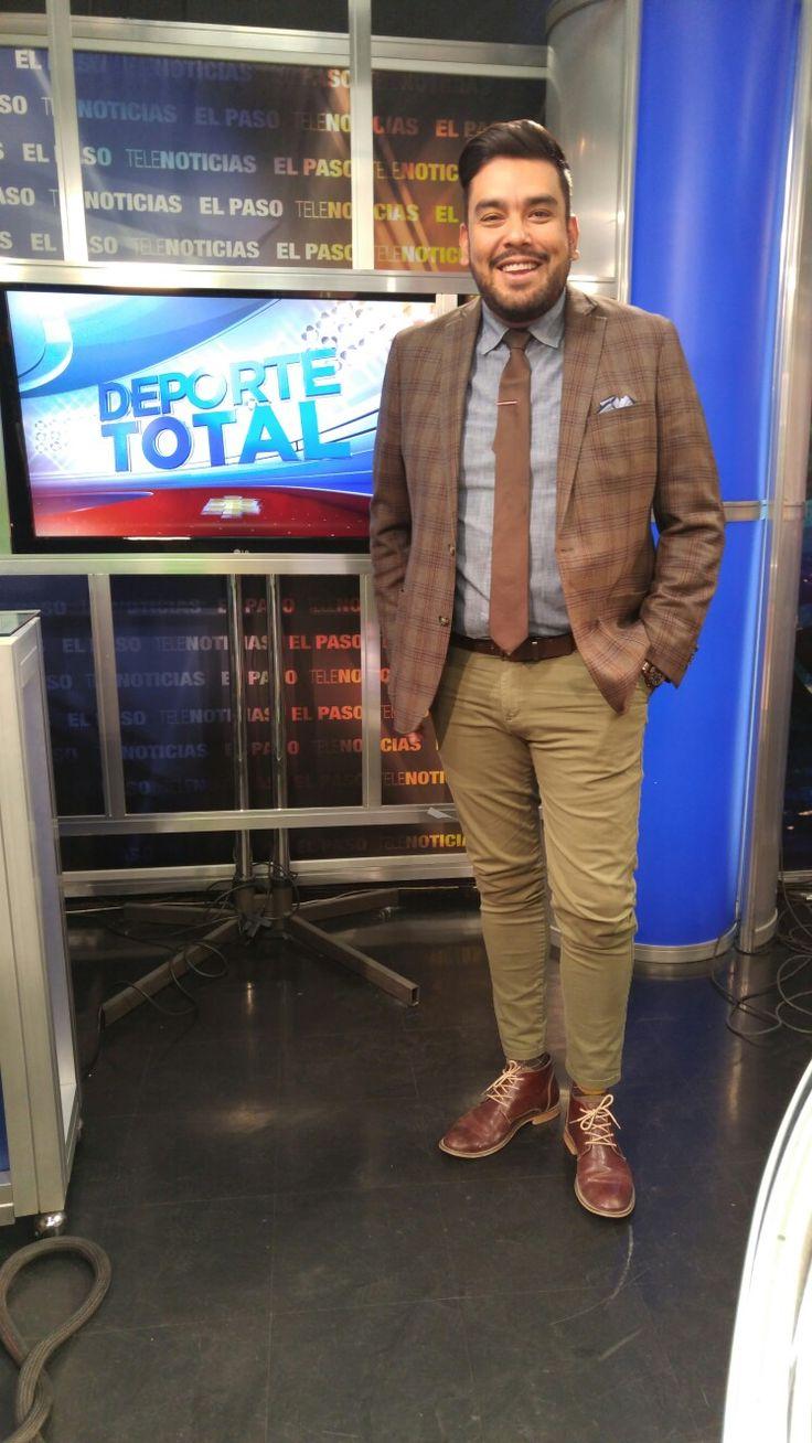 Brown jacket, Brown Tie, Denim shirt, brown boots, militar green pants