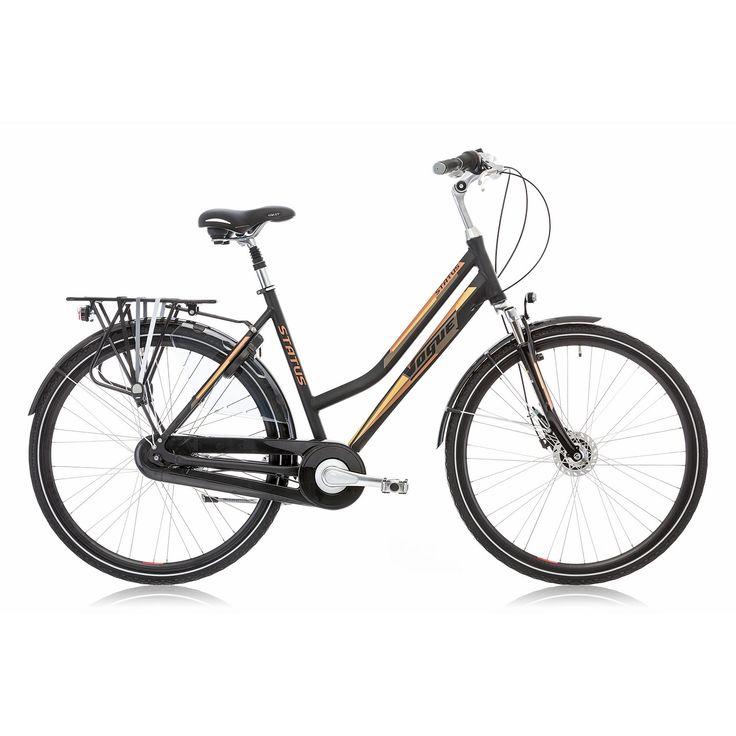 Vogue Stadsfiets Status dames zwart/bruin 53cm Zwart  Description: Met de Vogue Status heb je een topper van een fiets die voorzien is van alle gemakken. De Status is een mooie tijdloze trendy dames stadsfiets met een aluminium oversized frame en een framehoogte van 53cm. Met de Shimano Nexus 7 versnellingen schakel je moeiteloos een versnelling hoger of lager een heuvel op is geen probleem je fiets altijd lekker licht. Remmen doe je eenvoudig met de Shimano Rollerbrake remmen voor en…