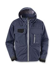 The Clearwater fly-fishing rain jacket keeps you dry without the bulk.