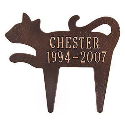 "Cat Silhouette Memorial Marker - BRONZE/GOLD - Improvements by Improvements. $59.99. This pet memorial marker comes ready to display immediately in your lawn or garden. The Pet Silhouette Memorial Marker will help keep your treasured pet's memory alive. Pet Silhouette Memorial Marker is handcrafted from recycled aluminum and personalized with 1-1/4"" lettering. Pet Silhouette Memorial Marker is handcrafted from recycled aluminum and personalized with 1-1/4"" let..."
