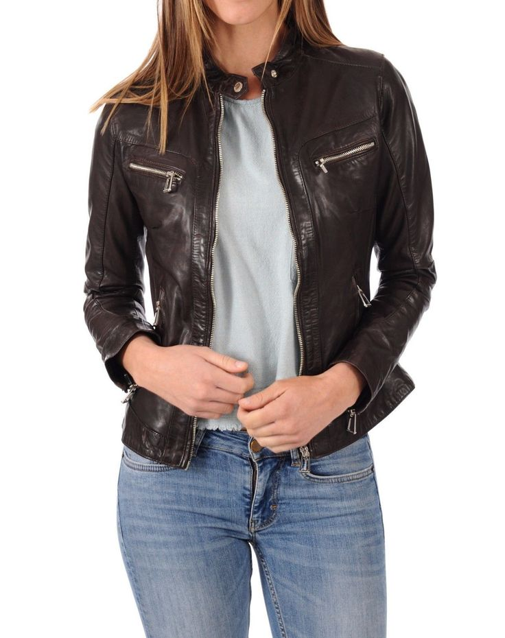 Women'S Black Soft Lambskin Leather Jacket Stylish Bomber Biker Jacket -N205
