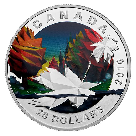 1 oz. Pure Silver Coin - Geometry in Art: The Maple Leaf - Mintage: 7,500 (2016)