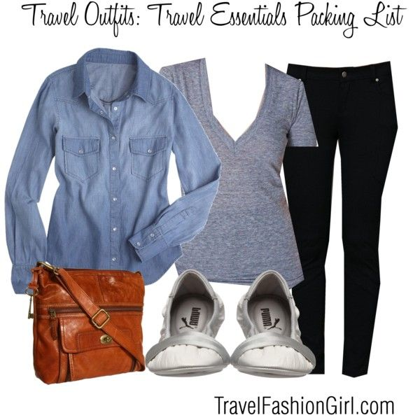 10 Piece Travel Essentials Packing List.  My favorite tip is using my red skirt as a dress by pulling it up and covering with denim shirt or jacket