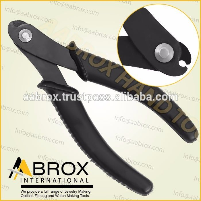 Model Number: AI-JP-1108, Memory Wire Cutters Shear Economy Slim Line , Lap Joint. Black Oxide Finish. 14 cm. Ergonomic handle with Spring. Available Colors: Black, TealBlue, Yellow or Red handles. These Top End Cutter is best for Jewelry Making, Wire Work Artist Suitable for Closing Small Sizes Rings, Bows, Wire Forming and other fine Hobby Work.