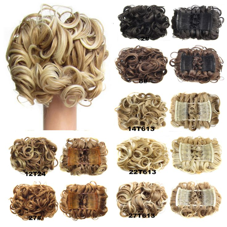 New style Women's chignon Bun, Combs Easy Clip to Hair Big Hair Buns Synthetic Wavy Curl Hair Chignon, A variety of color ,100g
