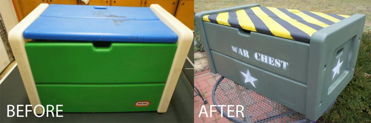 Toy box recycled into Nerf gun War chest