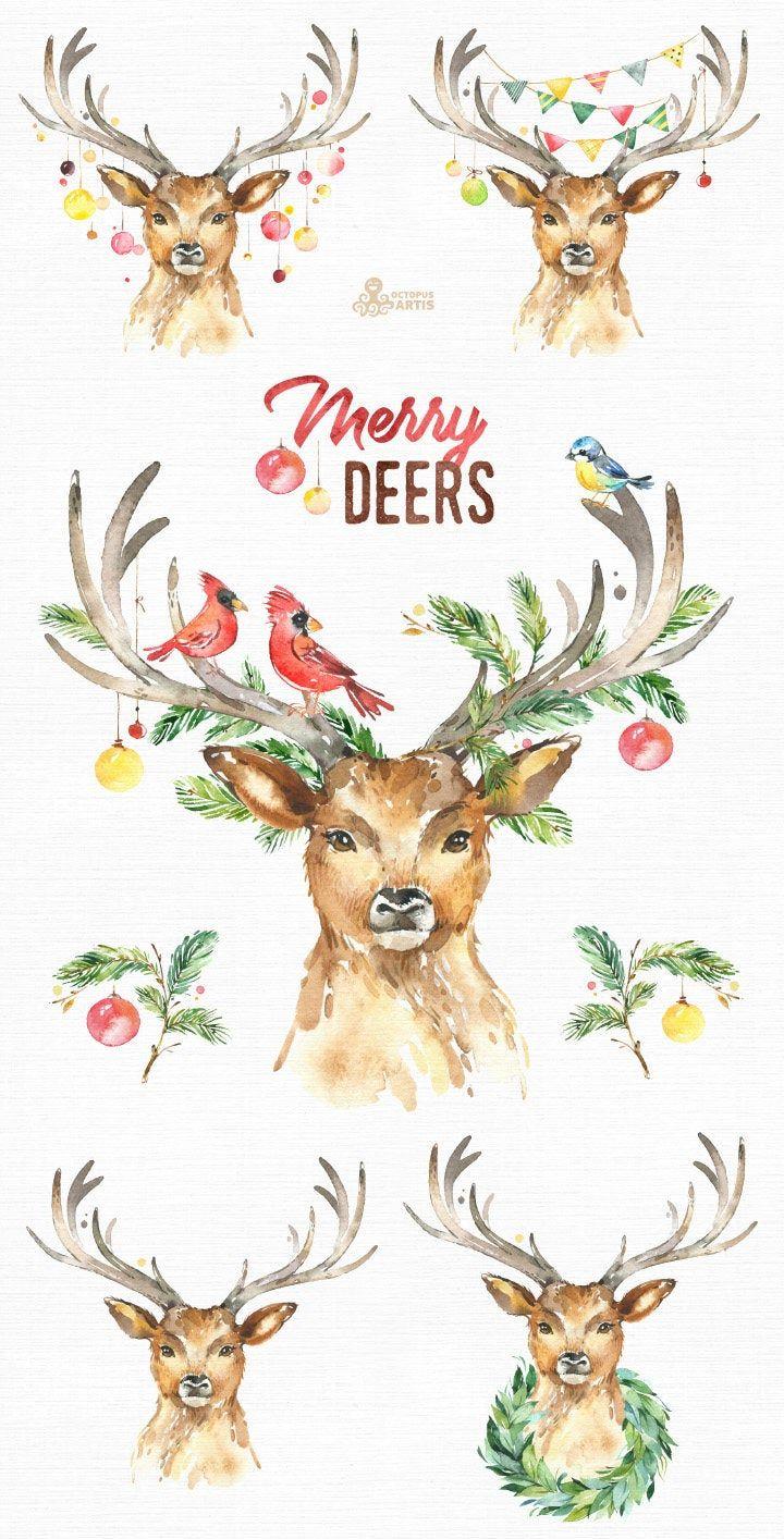 Merry Deers. Watercolor holiday clipart, birds, antlers ...