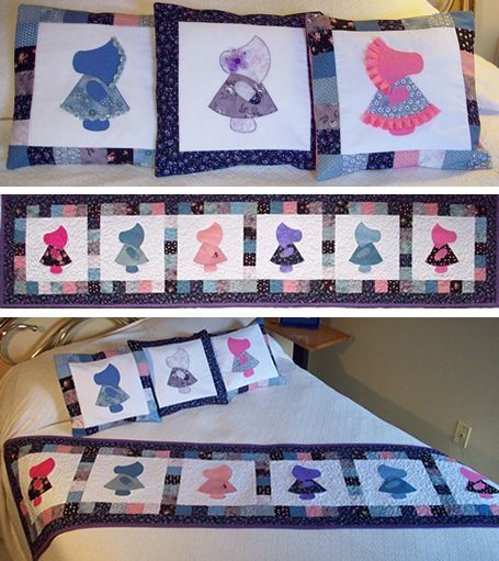 Grace a bedroom with a Sunbonnet Sue Bed Runner & Pillows.  Use your Sunbonnet Sue AccuQuilt GO! die or use the templates that come with the pattern.  Pattern available at http://quiltwoman.com/Sunbonnet-Sue-Bed-Runner-And-Pillows-Pattern.aspx#