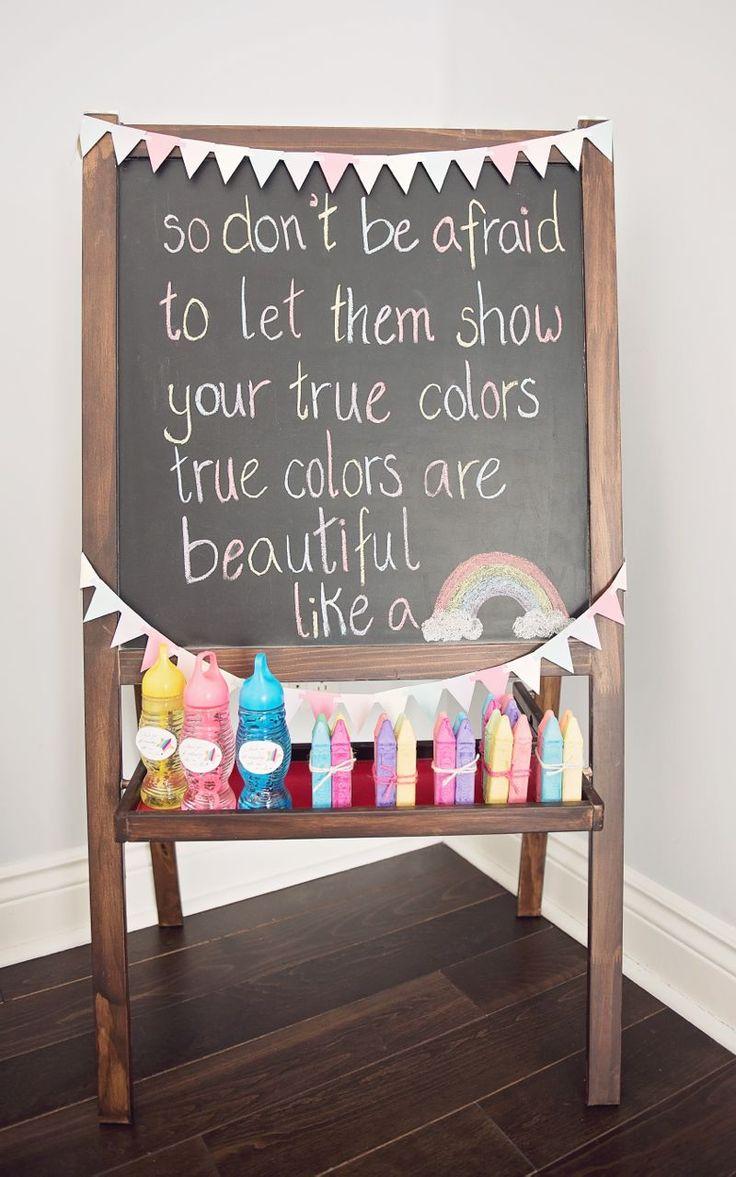 Trolls Chalkboard from a Trolls Inspired Birthday Party #trollschalkboard #trollspartyfavours #trollspartydecorations