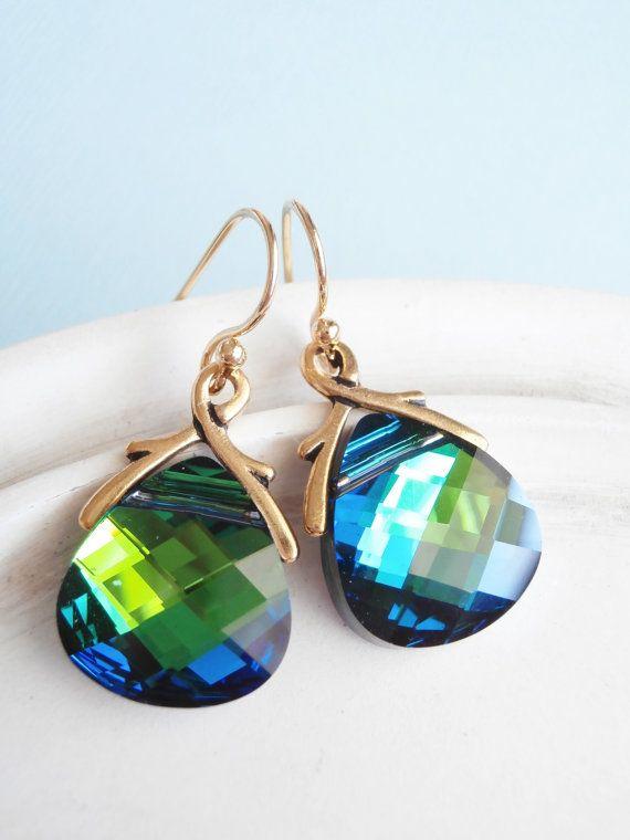 Swarovski Crystal Earrings  Teardrop Briolette  by linkeldesigns, $38.00