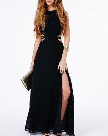 Black Chiffon Prom Dress,Sleeveless Evening Dress,Sexy Side Slit Prom Dress - Thumbnail 1