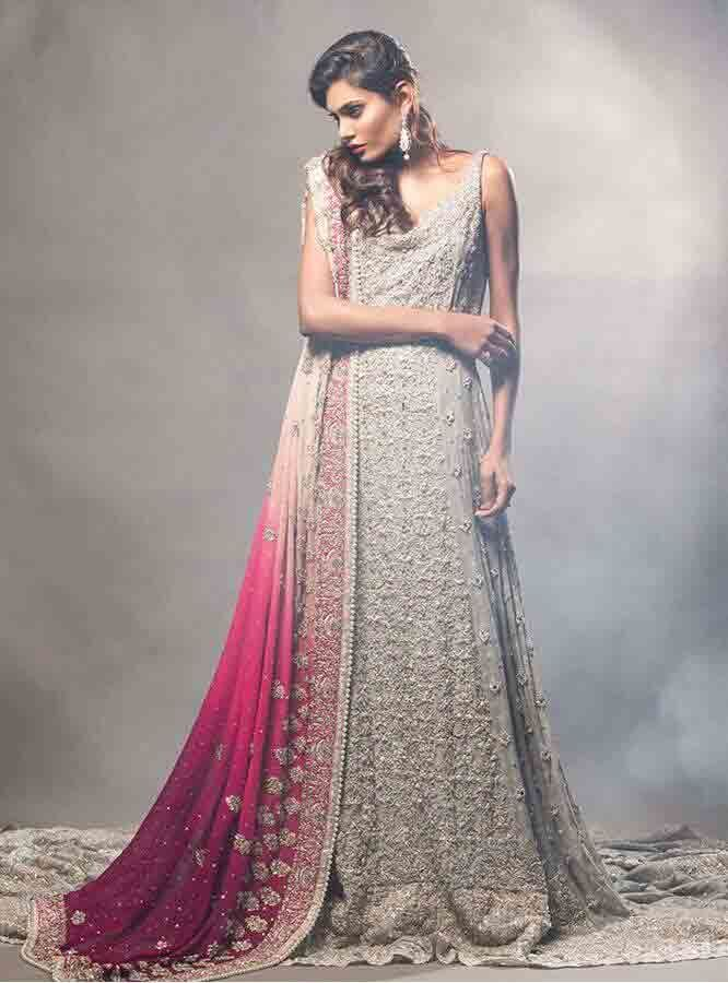Gray And Pink Stani Bridal Long Tail Maxi Gown Dress Designs 2017