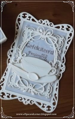 """Congrats on your retirement"" Ellys Card- Corner    Spellbinders Timeless Rectangles  Memory box Tiffany Frame   Marianne Design Teacup with spoon"