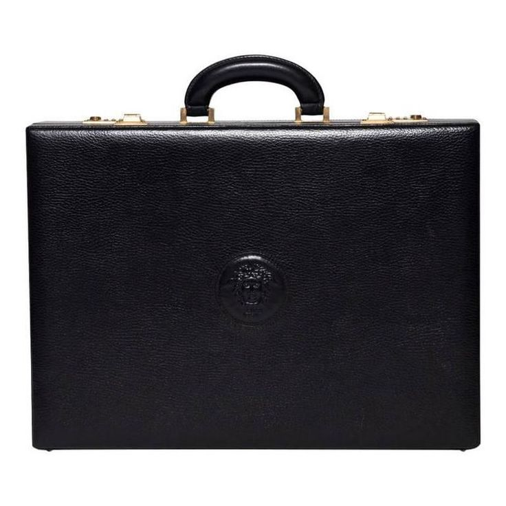 Versace Black Leather Briefcase with Medusa Head | From a collection of rare vintage briefcases and attachés at https://www.1stdibs.com/fashion/handbags-purses-bags/briefcases-attaches/