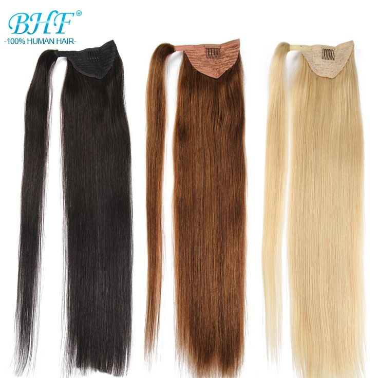 Ponytail Human Hair Extensions Peruvian Human Hair Ponytail Hairpiece Natural Hair Barrette Long Straight Strands Tails BHF