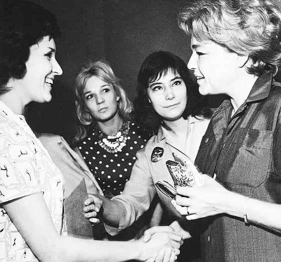 Simone Signoret Soviet Actresses lia Eliava and Tatiana Samoilova Hungarian actress Teri Tordai in 1966