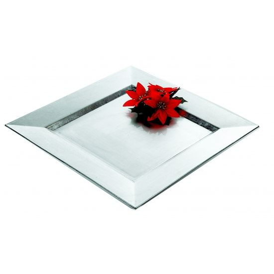 Plastic onderzet bord in het zilver. De vierkante onderzetter is 33 x 33 x 2 cm groot en tevens te gebruiken als kaarsenplateau.
