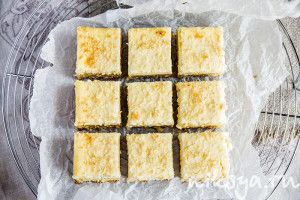 Lemon coconut squares with ricotta