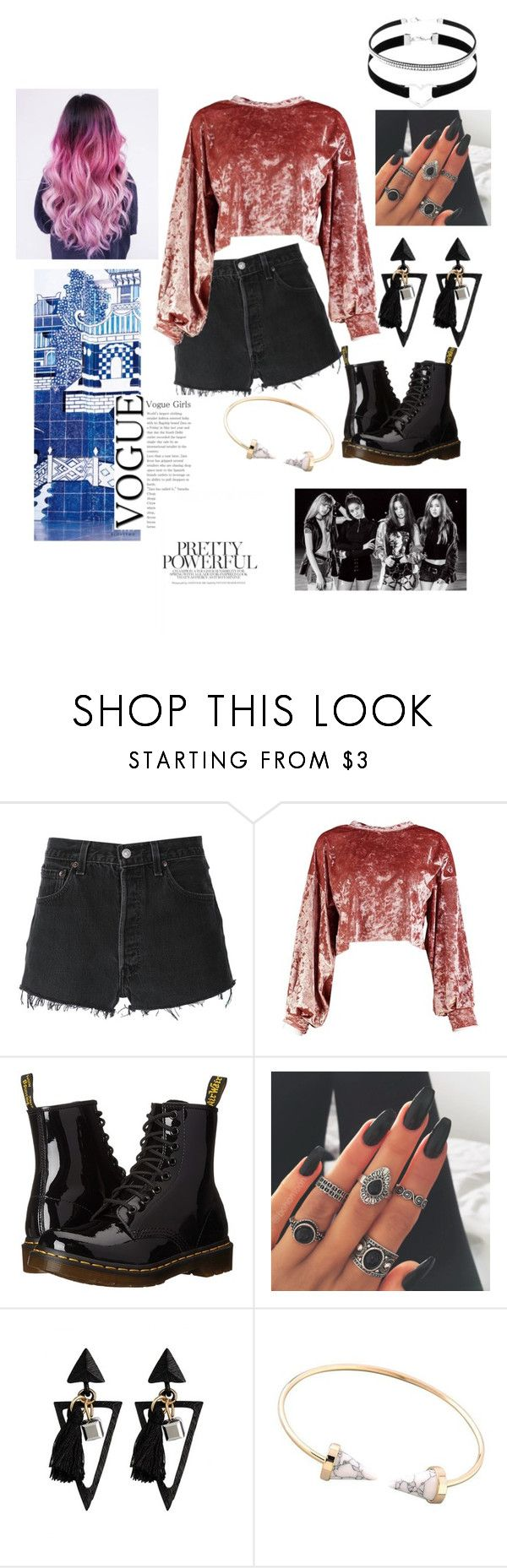 """""""blackpink whistle outfit """" by aholabeth on Polyvore featuring RE/DONE, Boohoo and Dr. Martens"""