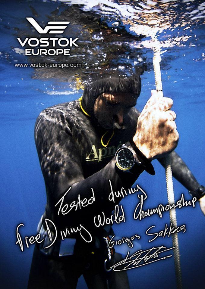 Giorgos Sakkas testing Vostok-Europe Anchar at Free Diving World Championship