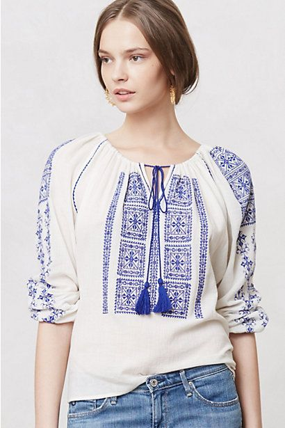 Tasseled Calypso Tunic #anthropologie - if too long u can tuck just the front in as shown