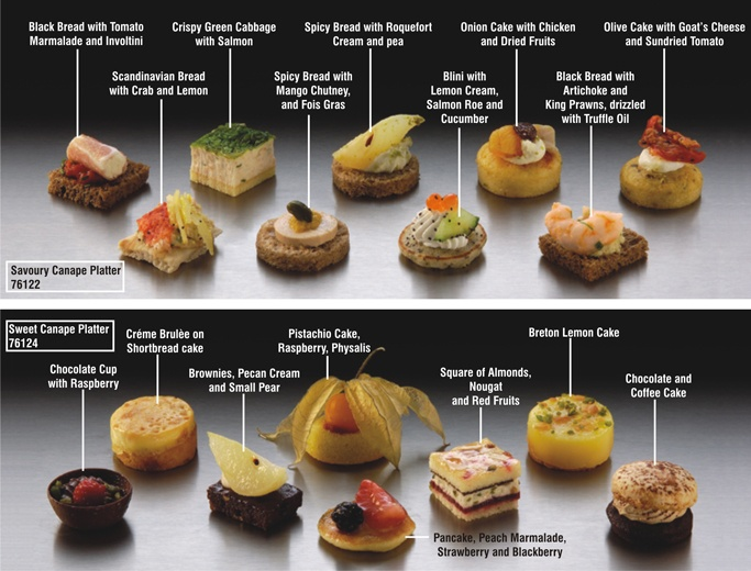 savoury and sweet canapes