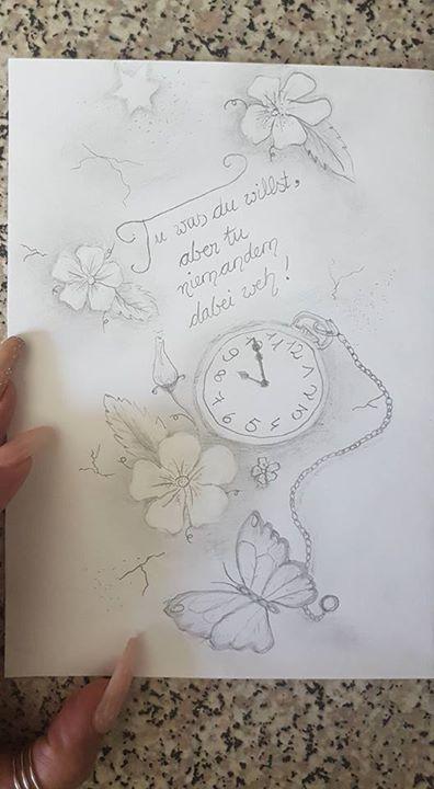 Meine grobe Vorlage/Skizze für mein neues Tattoo morgen früh  (den Schmetterling hab ich schon sollte nur die Stelle zeigen...)      Bin total gespannt was John Read daraus machen wird  freuuuuuu mich schon :)))