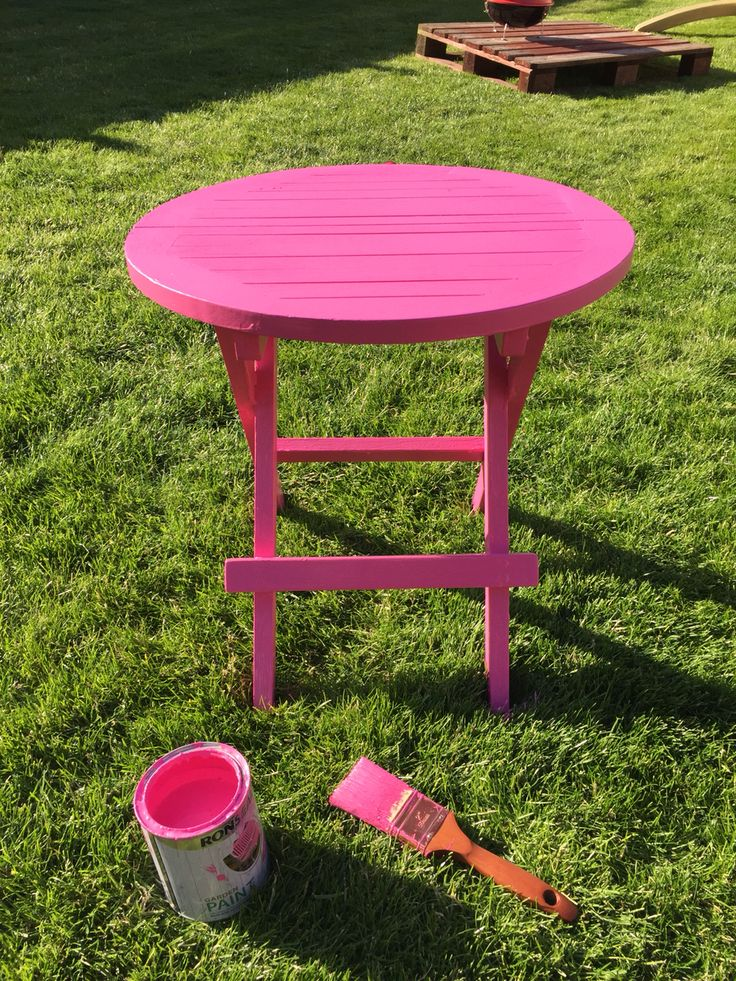 give an old garden table a summer makeover with a slick of ronseal garden paint how about this hot pink shade