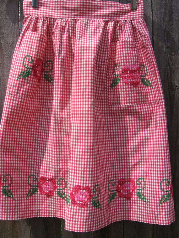 Vintage Red Gingham and Hand Embroidered Roses by jenEembroidery, $18.00