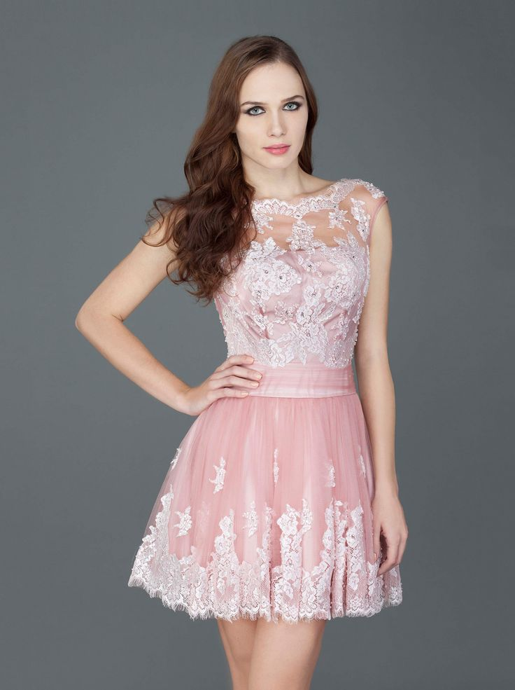 Short evening dress with lace and tule is the definition of ethereal and romantic... http://mikael.gr/el/spring-summer-2014/11807.html