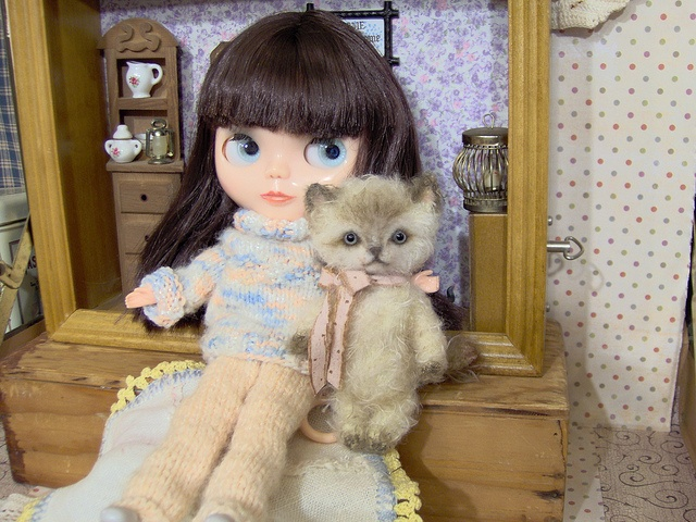 Blythe Bassak Doll with her kitty friend(made by me)